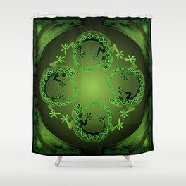 Vintage Green Gecko Shower Curtain