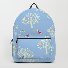 in the apple orchards blue pattern Backpack