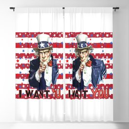 Uncle Sam I Want You With Stars and Stripes Background Blackout Curtain