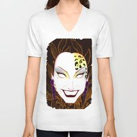 bianca green V-neck T-shirts featuring The panther, Bianca  by Francine Oliveira