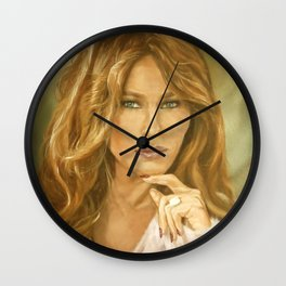 Oil Painting of Flotus, Melania Trump by Lydia Sturges Wall Clock