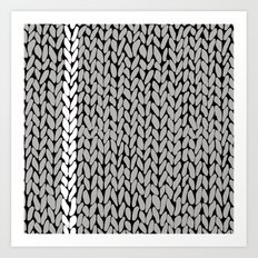 Grey Knit With White Stripe Art Print