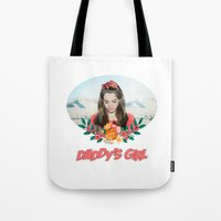 ultraviolence Tote Bags featuring daddy's girl by Tiaguh