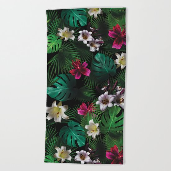 Tropical Night Garden Beach Towel