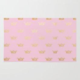Princess gold crown pattern on pink background Rug
