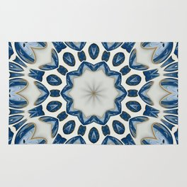 Snowblue Clock Mandala Rug