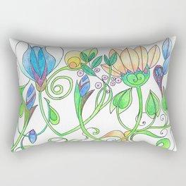 Flower Freize Rectangular Pillow