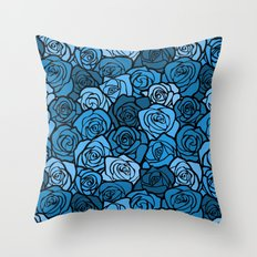 Romantic Blue roses with black outline Throw Pillow