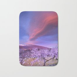 Lenticular clouds over Sierra Nevada and almonds Bath Mat
