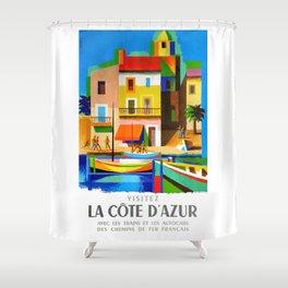 1963 Cote d'Azur French Riviera Vintage World Travel Poster Shower Curtain