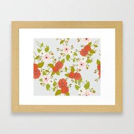 Climbing Roses, Crimson, Green, Pink and Grey Framed Art Print