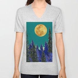 BLUE FOREST TEAL SKY MOON LANDSCAPE ART Unisex V-Neck