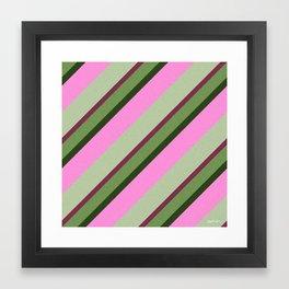 Pink Roses in Anzures 1 Stripes 3D Framed Art Print