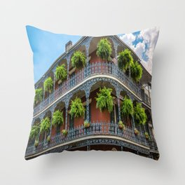 Southern Style - Hanging Ferns in French Quarter New Orleans Throw Pillow
