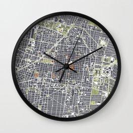Mexico city map engraving Wall Clock