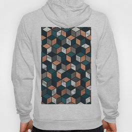 Copper, Marble and Concrete Cubes with Blue Hoody