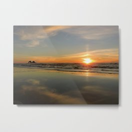 Sunset Reflecting on the Sand Metal Print