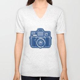 I Still Shoot Film Holga Logo - Blue Unisex V-Neck