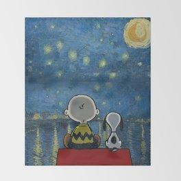 Snoopy starry night Throw Blanket