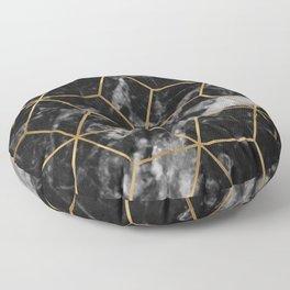 Golden deco black marble geo Floor Pillow