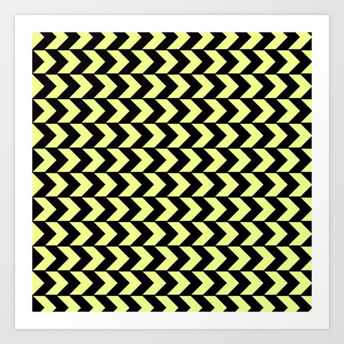 f22d85666fed Graphic Geometric Pattern Minimal 2 Tone Arrow Triangles (Neon Yellow    Black) Art Print