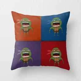 Screaming Turtles Throw Pillow