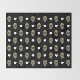 Say It with Skull and Hearts Throw Blanket