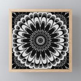 Black & White Flower Mandala Framed Mini Art Print