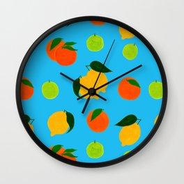 Happy citrus pattern Wall Clock