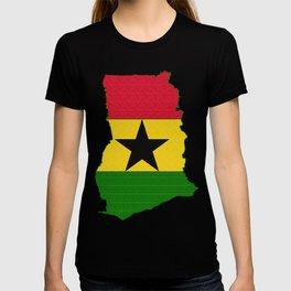 Ghana Map with Ghanian Flag T-shirt