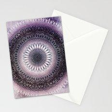 PURPLE WINTER LEAVES MANDALA Stationery Cards