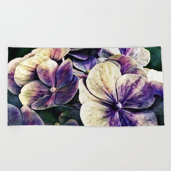 Hortensia flowers in vintage grunge watercoloring style Beach Towel