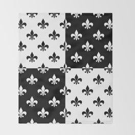 Black & white royal lilies (chessboard) Throw Blanket