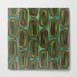 Pattern Retro Style green and orange Metal Print