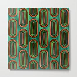 Pattern Retro Style green and orange Metal Print