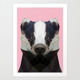 Cute low poly badger Art Print