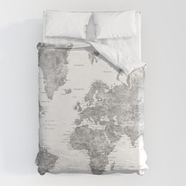 Adventure awaits... detailed world map in grayscale watercolor Duvet Cover