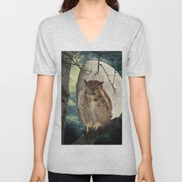 Great Horned Owl Bird Moon Tree A138 Unisex V-Neck