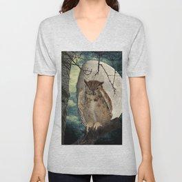 Great Horned Owl Bird Moon Tree A138 Unisex V-Neck