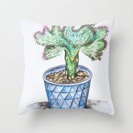 Euphorbia Lactea Cactus Throw Pillow