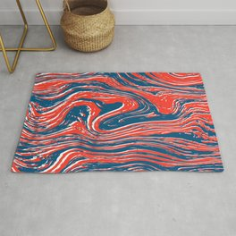 Marbled Red, White, and Blue Rug