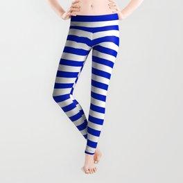 Cobalt Blue and White Thin Horizontal Deck Chair Stripe Leggings