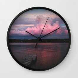 Pink Sunset at the Lake Wall Clock