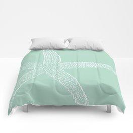 Starfish- white on sage Comforters