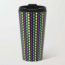 Mardi Gras Beads on Black Travel Mug