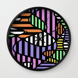 Crazy Curvy Pastel Stripes Wall Clock