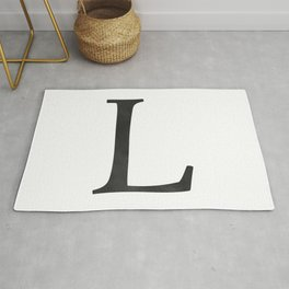 Letter L Initial Monogram Black and White Rug