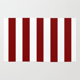 Maroon (HTML/CSS) red - solid color - white vertical lines pattern Rug