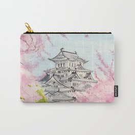 Himeji Castle , Art Watercolor Painting print by Suisai Genki , cherry blossom , Japanese Castle Carry-All Pouch