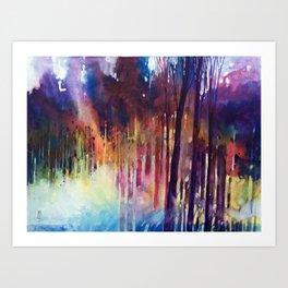 Lampi di luce nella foresta Art Print
